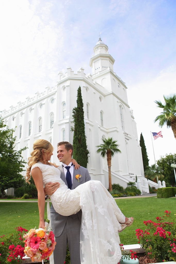St george temple wedding for Lds wedding dresses utah